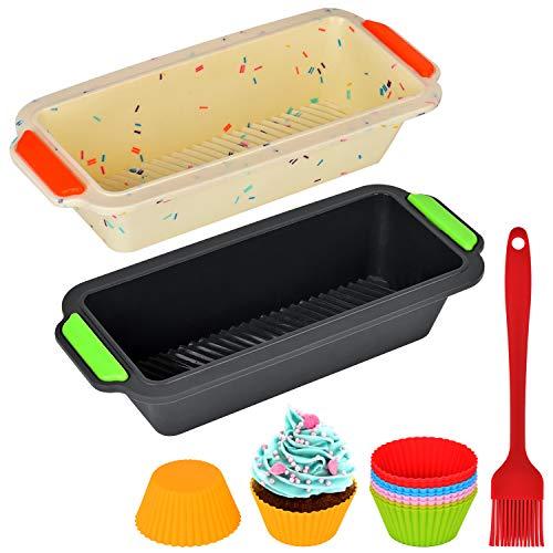 Queta Silicona para Pan Tostadas de Silicona Rectangular 13 en 1 Kit, Molde Antiadherente para Pan, 2 Moldes de Panadería +10 Moldes de Cupcake Reutilizables + 1 Cepillo de Aceite