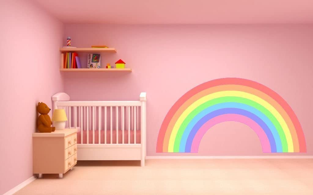 Amazon Com Pastel Rainbow Wall Sticker Decal Plain Children S Bedroom Nursery Car Art Graphic 2 Sizes Large 140cm X 74cm Home Kitchen