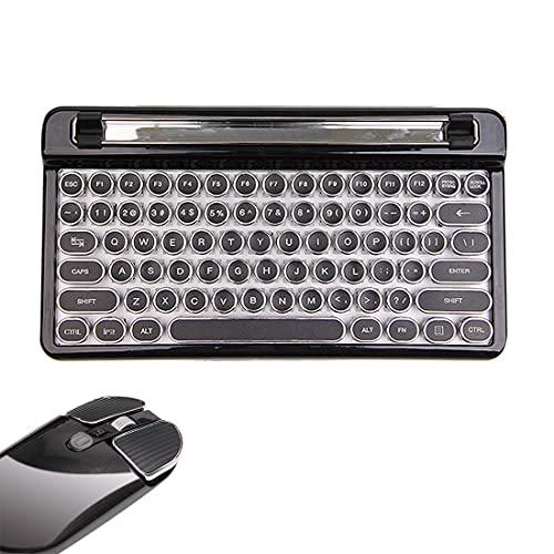 YOU339 Teclado mecánico inalámbrico Bluetooth retro con ratón inalámbrico Bluetooth para portátil/tablet, color negro (interruptores azules)