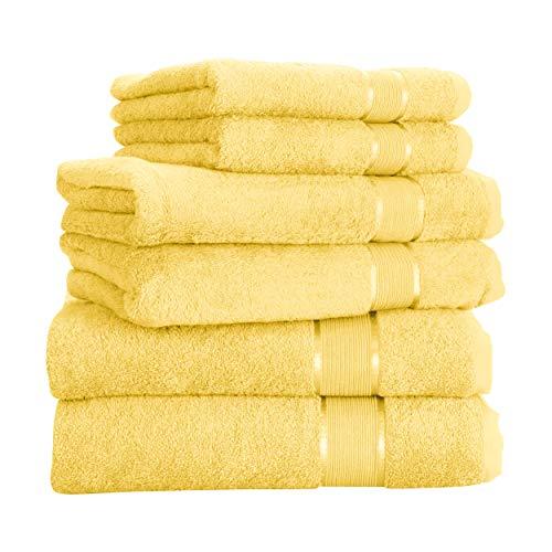 Mixibaby Handtuch 6er Set 2X Duschtuch 2X Handtuch 2X Gästetuch 100% Baumwolle Frottee, Farbe:Vanille Gelb