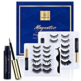 12 Pairs Magnetic Eyelashes Kit With Double Eyeliner, Reusable 3D 6D Magnetic Eyelashes and Eyeliner,Magnetic Eyeliner and Magnetic Eyelash Natural Look-No Glue Needed