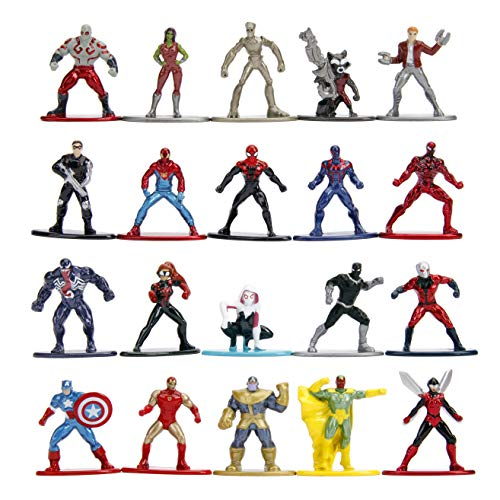 "Marvel 1.65"" Die-cast Metal Collectible Figures 20-Pack Wave 1, Toys for Kids and Adults"
