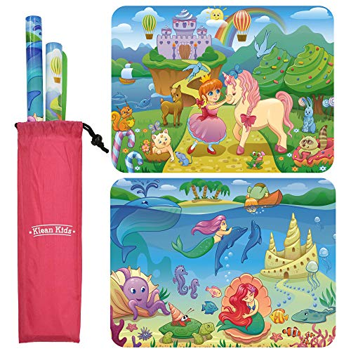Silicone Placemats for Toddlers Non Slip 2-Pack Princess & Mermaid with Travel Bag - Baby Placemats That Stick to Table for Baby, Kids, Toddlers - Suction Mats for Toddlers - Placemat for Dining Table