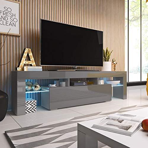 Jadella Tv-meubel 'Soro II' hoogglans lowboard Cube mat HiFi televisiekast met LED grijs mat/grijs hoogglans.