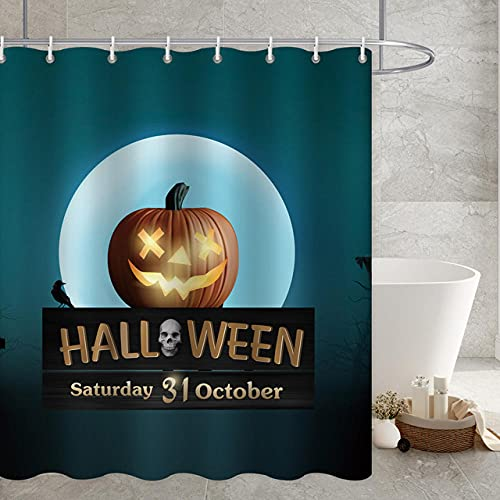 YZundYL Halloween Schloss Thema Badezimmer Duschvorhang Hexe Geist mit Mond Wasserdichter Stoff Dekorative Badewannenvorhänge mit Haken(180*180)