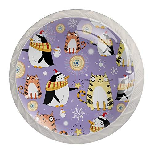Perillas de armario de cocina, perillas decorativas redondas, cajones de armario, tirador de tocador, 4 uds, bonitos animales, gatos, pingüino, muñeco de nieve