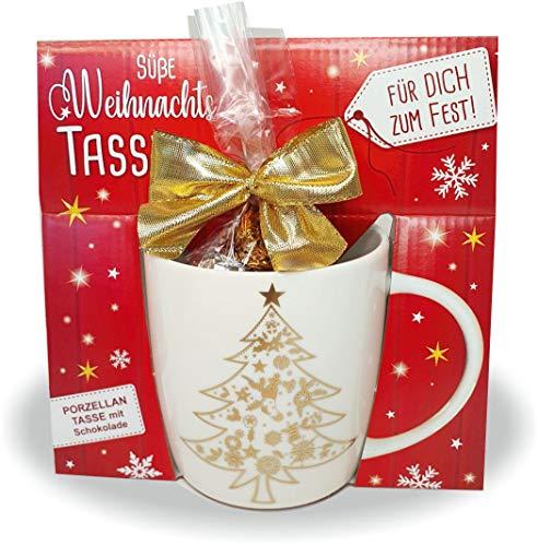 AV Andrea Verlag Süße Weihnachtstasse - Weihnachtsbaum - Kaffeetasse und Schokolade mit Geschenkverpackung zu Weihnachten. Beidseitig mit Gold Bedruckt