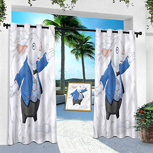 Aishare Store Outdoor Porch Curtains Waterproof, Alice in Wonderland,Adventure Tale, 108 Inches Long Outdoor Blackout Curtains for Patio Thermal Insulated Drapery for Deck/Balcony(1 Panel)