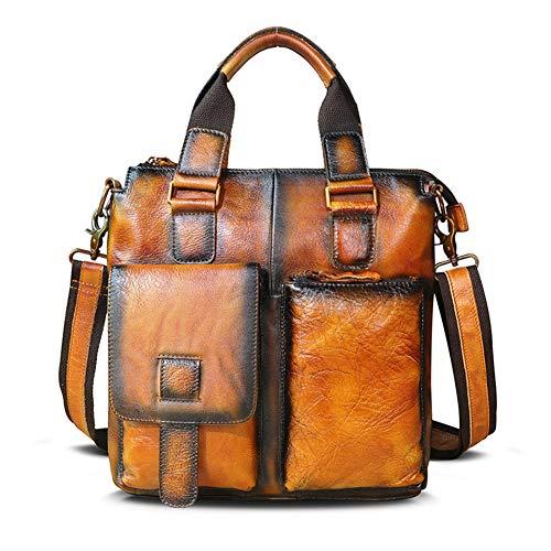 HSHKONG Men Horse Leather Business Briefcase 12' Laptop Case Attache Portfolio Tote Shoulder Messenger Bag