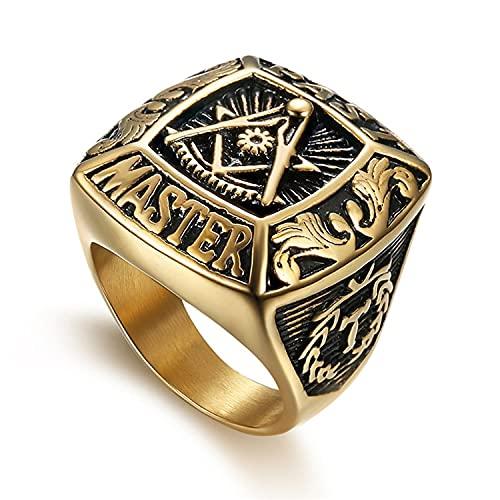 Anillos grandes de acero inoxidable para hombres Mason Freemasonry Anillo retro para hombres Masonic Vintange Anillos para hombre Hiphop Anillos Bague 8 GoldColor