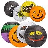 8 linternas de papel de Halloween, fantasma calabaza, bruja, murciélago para decoración de Halloween, decoración del hogar, , decoración de fiestas, suministros de fiesta de Halloween