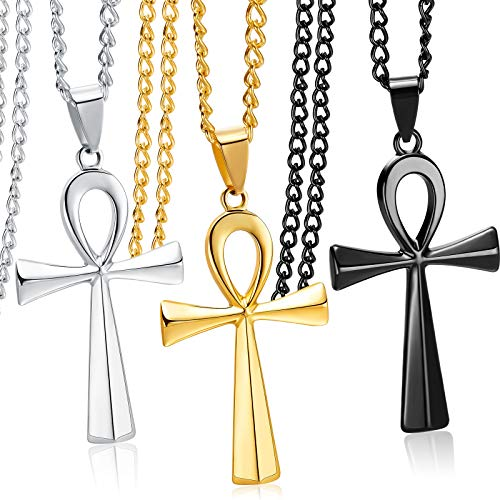 3 Pieces Men's Stainless Steel Ankh Pendant Necklace, Black, Gold, Silver