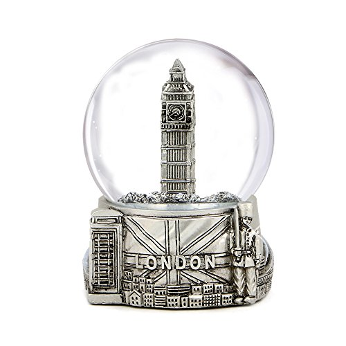Silver London Snow Globe with Big Ben and Union Jack Flag, (3.5 Inches Tall), London Snow Globe
