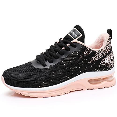 MEHOTO Womens Fashion Lightweight Tennis Walking Shoes Sport Air Fitness Gym Jogging Running Sneakers (Peachblack US 8 B(M)