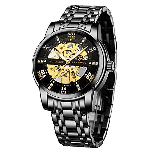 Relojes, Relojes Hombre Mecánico Automático de Lujo de Estilo Clásico Impermeable Números Esfera con Correa de Acero Inoxidable