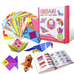 ♥ Colorful Origami Paper Kit - Our high-quality square origami sheets come with 10 sheets of practice papers plus 108 double sided vivid origami folding papers of 54 different beautiful patterns (2 sheets of each design); Size: 14 x 14 cm (5.5 x 5.5 ...