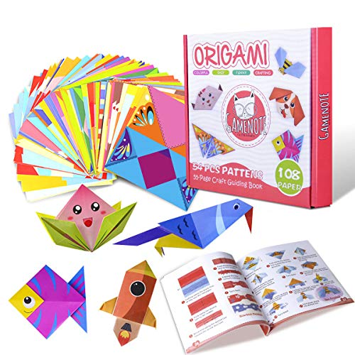 Gamenote color kit de origami para niños 118 archivo de origami vívido de doble...
