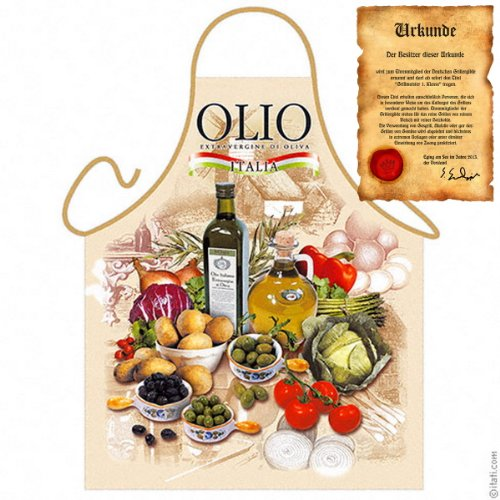 Veri Italienisch Kochen - la Cucina Italiana Grembiule: Olio Italia Antipasti - stilechte Geschenke Kochschürze mediterrane Küche one Size, bunt mit gratis Urkunde :