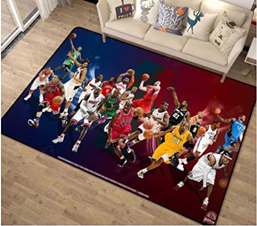 chengcheng Alfombra de Estrella de Baloncesto de la NBA, alfombras Antideslizantes de Terciopelo de Cristal, Alfombra Decorativa Creativa 140x200cm