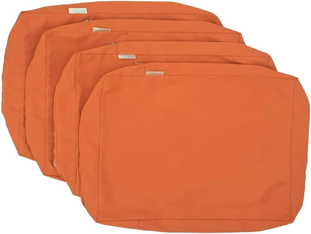 CozyLounge Sunkissed Orange Outdoor Water Repellent Patio Chair Cushion Seat Back Pillow Covers ONLY (24