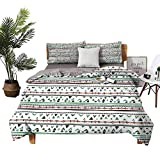 DRAGON VINES Bed Sheets Queen Cotton Tribal Bed Sheets Full Set Native American Style Traditional Aztec Pattern Old Fashioned Hippie Boho Influences W90 xL90 Multicolor