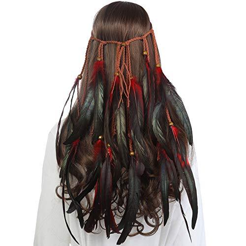 Boho Headdress Feather Headband Accessories - AWAYTR Feather Elastic Gypsy Festival Headband Indian Fancy Headpieces 1970s (Black + red)