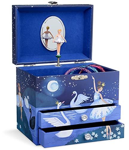 Jewelkeeper - Carillon Ballerina portagioielli con 2 cassetti estraibili, design glitterato - Melodia dell'Lago dei Cigni