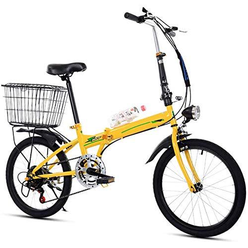 RXRENXIA Bicicletas Plegables, 20 Pulgadas Portátil Plegable De Dos Ruedas Mini-Frame Pedal del Coche Eléctrico De Aleación De Aluminio Ligero Plegable Ciudad De Bicicletas Estudiante De Educación