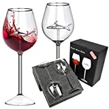 AOKEOU Shark Wine Glasses Set, Lead-Free Clear Glasses, Creative Red Wine Goblet Glasses with Shark Inside, Red Wine Flutes Set of 2, Shark Glassware with Long Stem for Anniversary, Christmas (Clear)