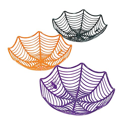 Fun Express Spider Web Basket (3 pc) for Halloween Party Supplies