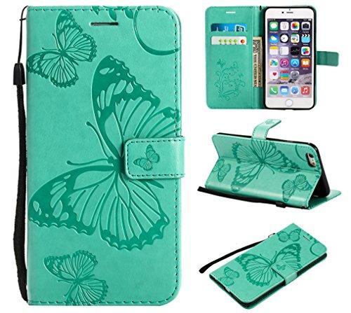 Eazyhurry iPhone 6Plus Schutzhülle, iPhone 6S Plus Hülle [Displayschutzfolie Enthalten] Geldbörse Leder Flip Case Kompatibel iPhone 6/6S Plus (grün)