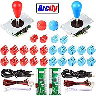 Arcity 2-Player Arcade Buttons and Joystick Kits DIY Controller USB Encoder to PC Video Games 8 Ways Joystick + 20 Push Buttons (2.8mm Terminal) for Windows MAME Raspberry Pi 1 2 3 Red and Blue New