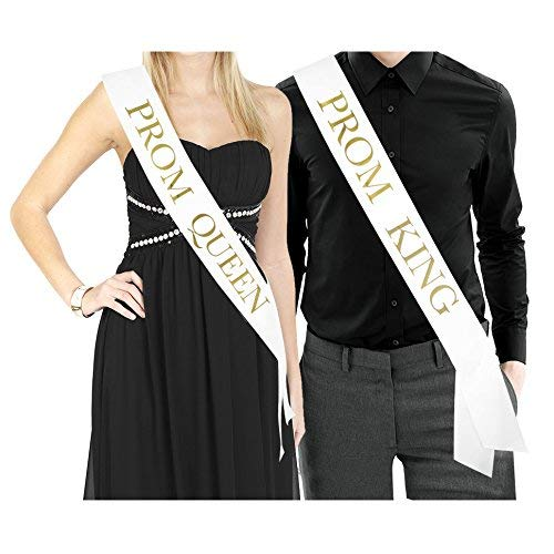 Prom King & Prom Queen Sashes - White Satin...