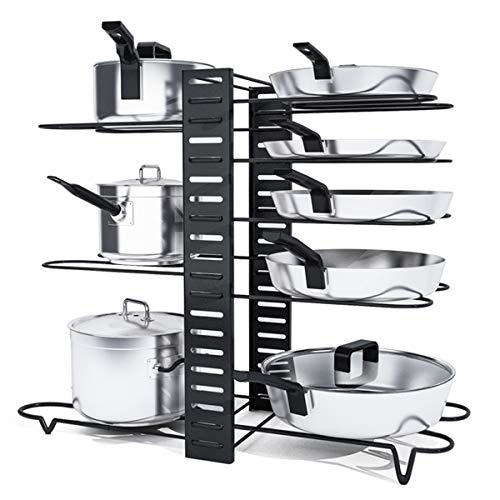 VLikeze - Soporte para tapa de ollas (8 niveles, soporte para sartenes, organizador de cacerolas, estante de cocina, organizador fácil de montar y limpiar