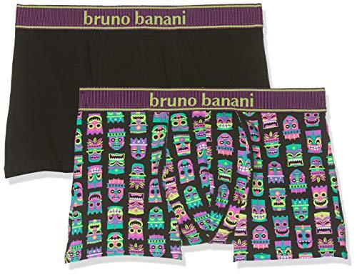 bruno banani Herren Short 2er Pack Hawaiian Mask Boxershorts, Violett (Violett/Schwarz Print//Schwarz 2631), Medium