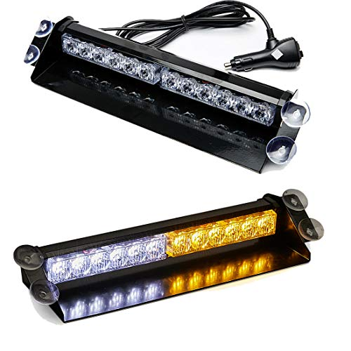 SMALLFATW 12 LED 9 Flash Patterns High Intensity Emergency Law Enforcement Vehicles Truck Warning Strobe Visor Light Mini Bar Fit for Interior Roof / Dash/ Windshield with Suction Cups (Amber/White)