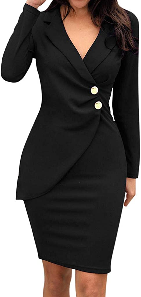 TWGONE Business Dresses for Women Work Crossover Solid Turn Down Neck Long Sleeve Buttons Bodycon Formal Dress