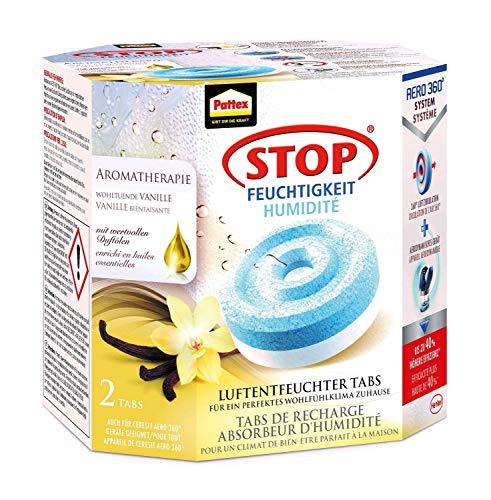 4 x Vanille Pattex Stop Feuchtigkeit Aero 360° Luftentfeuchter Nachfüllpack Aromatherapie/Gegen Feuchtigkeit und schlechte Gerüche/Mit beruhigendem Vanilleduft / 4 Nachfülltabs (4 x 450g) …