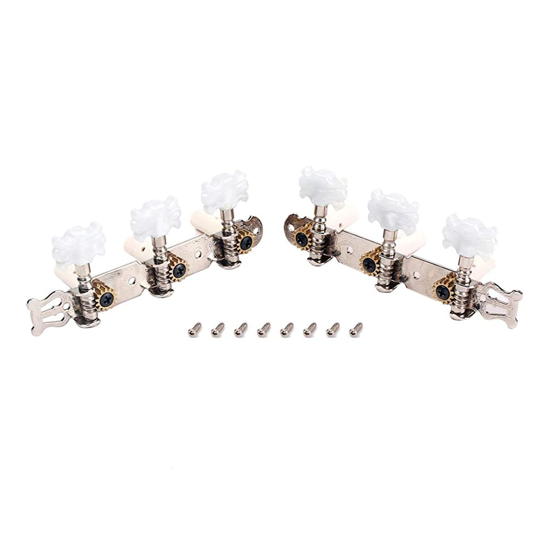 SUPVOX 1 Pair Flower Head Classic Guitar String 3+3 Tuning Pegs Tuners Machine Head Silver