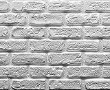 Muroform - Panel de ladrillo falso construido con poliestireno blanco pintable, 150 cm x 50 cm x 2...