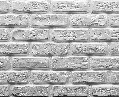 Muroform - Panel de ladrillo falso construido con poliestireno blanco pintable, 150 cm x 50 cm x 2 cm