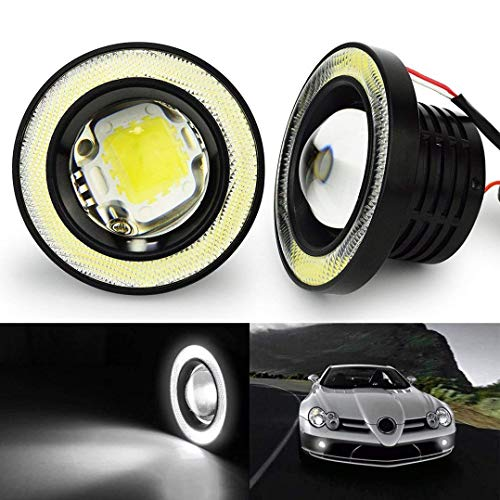 SOCAL-LED Lighting Cool White 3.5  Round COB LED Fog Light Bulbs Angel Eye Projector Lamp High Power Bright DRL Halo Ring, Pack of 2