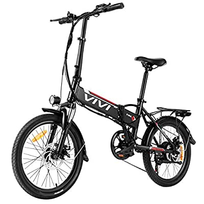 VIVI Folding Electric Bike 20'' Electric Bicycle 350W Ebike, Electric Bikes for Adults with Removable 36V 8Ah Lithium-Ion Battery, Shimano 7 Speed Gear, Electric City Commuter Bike