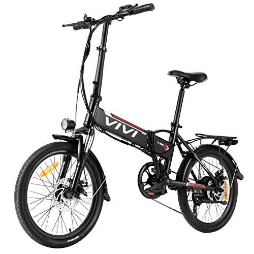 Vivi Folding Electric Bike Ebike, 20'' Electric Commuter Bicycle 350W Ebike, Electric Bike for Adults with Removable 36V 8Ah Lithium-Ion Battery, Professional 7 Speed Gears