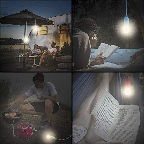 Lightess 4er Pull LightLampe Ziehlampe Camping Tragbare LED Leuchte Colors Glühbirnen Campinglampe Dekoratives Licht Pendelleuchte für Party Garten Schuppen Zelt Camping Dachboden Kleiderschrank - 5