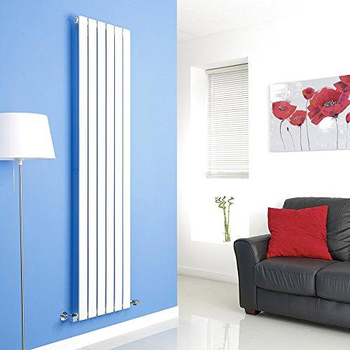 Hudson Reed Radiador de Diseño Moderno Vertical Delta - Radiador con Acabado Blanco - Paneles Planos - 1800 x 420mm - 987W - Calefacción