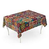 Tarolo Rectangle Tablecloth 60 x 102 Inch Mexican Mandalas Vintage Colorful Patchwork Abstract African Batik Bohemian Carpet Table Cloth