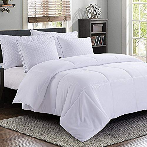 MANZOO Queen Comforter Duvet Insert White - Quilted Comforter with Corner Tabs - Hypoallergenic, Plush Siliconized Fiberfill, Box Stitched Down Alternative Comforter - Machine Washable