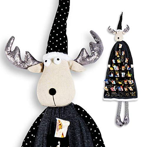 WOMA DIY Adventskalender zum Befüllen Stoff - 5 verschiedene Figuren - Elch 135cm - Weihnachtskalender zum Aufhängen mit Säckchen - Schwarz