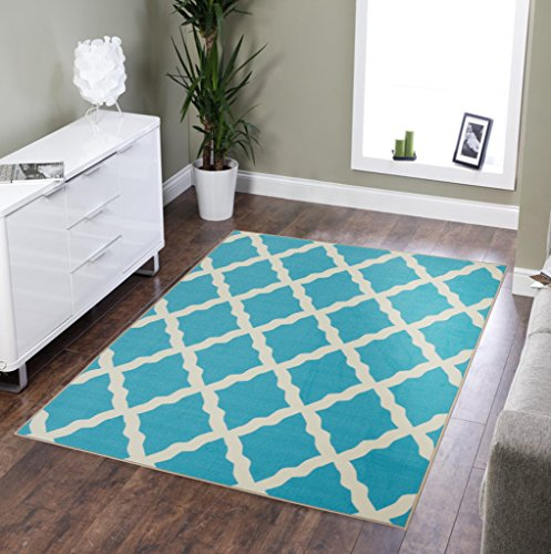 "OTTOMANSON Blue Glamour Collection Contemporary Moroccan Trellis Design Kids Lattice Area (Non-Slip) Kitchen and Bathroom Mat Rug, 3'3"" X 5'0"", 3'3"" x 5'"